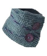 Green chunky neck warmer in soft Peruvian merino wool, flecked yarn with... - $35.00