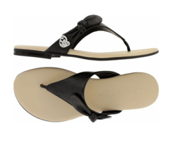Brighton Black Leather Sandals 6.5 M Chloe Soft Comfort Thong Flats Bow ... - $39.55