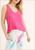 Neuf Free People Femme T-Shirt OB948615 6602 We The Tree Fuschia Rose TA... - $20.98