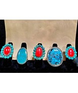 Turquoise Coral Sterling Silver Rings HANDMADE IN USA One-of-a-Kind - $300.00