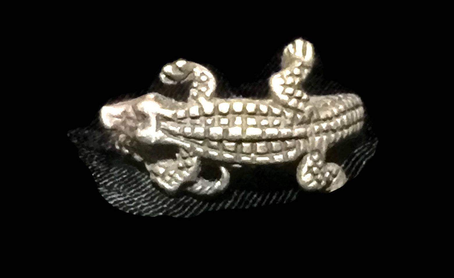 Vintage Alligator Crocodile Sterling Silver Handmade Ring Size 7.50