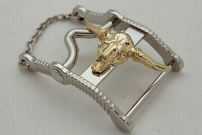 Casual da Uomo Western Cowboys Fibbia Cintura Metallo Argento lungo Oro Bull
