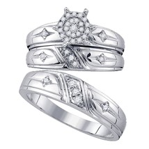 10k White Gold His Hers Diamond Cluster Cross Matching Bridal Wedding Ring Set - $622.54