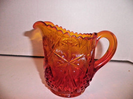 Amberina Pressed Glass Creamer Red Gold Hobstar Mint - $29.99