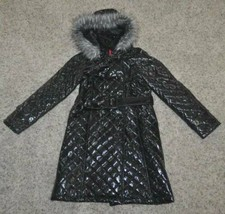 Girls Long Coat The Childrens Place Black Quilted Polyurethane Belted LNC- 10/12 - $29.70