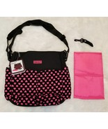 Love Is... Diaper Bag Shoulder Tote 10 Pockets, Changing Pad, Black/Pink... - $7.33