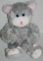 "Animal Adventure CAT 14"" Gray Slippers KITTEN Feet Soft Toy Plush 2007 S... - $12.19"
