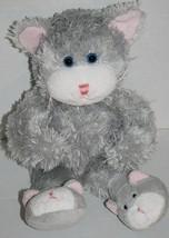 "Animal Adventure CAT 14"" Gray Slippers KITTEN Feet Soft Toy Plush 2007 Stuffed - $12.19"