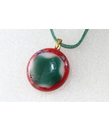 Handmade Casual Coloured Fused Glass Pendant Necklace+ Cord & Extension ... - $9.99