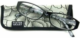Foster Grant Kay Black & Gray Scratch Resistant Flower Reading Glasses w... - $10.00