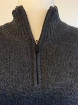 Eddie Bauer Pullover Zip Sweater Size TL Heather Gray High Collar Cotton - $27.10