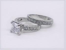 Sterling Silver 14k White Gold Princess Diamond Cut Engagement Ring Wedd... - $42.82