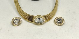 COUTURE RUNWAY VINTAGE CHOKER EARRINGS LARGE FACETED CRYSTALS GOLD TONE - $47.52