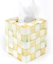 NEW MacKenzie-Childs Parchment Check Enamel Boutique Tissue Box Cover - HTF - $115.00