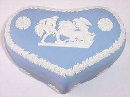 Wedgwood England Blue Jasperware Heart Shaped Trinket Box Horses Chariot Angel - $24.99