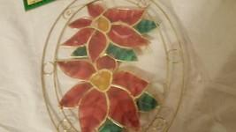 AUTHENTIC CAPIZ SHELL POINSETTIA WINDOW SUN CATCHER CHRISTMAS DECORATION... - $4.94