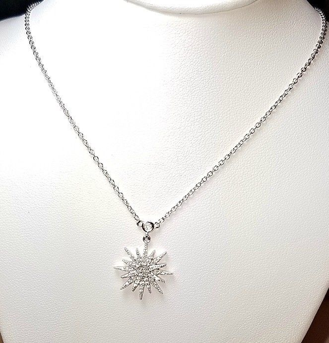 ZirconZ- Dainty Pave Signty 5A CZ Art Deco Sterling Silver Star Burst Necklace