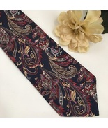 Christian Dior Blue Red & Gold Print silk men's business Tie - $14.95