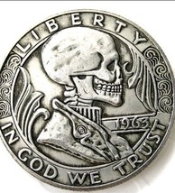 New Hobo Nickel 1963 Skull Franklin Half Dollar Skeleton In Suit Casted ... - $11.39
