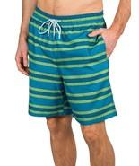 Kirkland Men's Swim Suit Shorts Trunks  Blue Green Stripe  Sz 2XL - $15.79