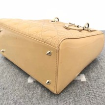 Authentic Christian Dior Lady Dior Medium Beige Patent Shoulder Tote Bag GHW image 5