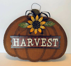 Fall Harvest Pumpkin Sunflower Wall Hanging Sign Door Decor EUC - $18.00