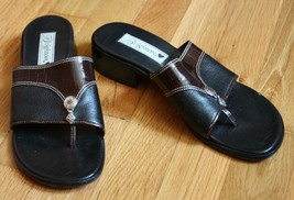 Brighton 7.5 N Narrow Brown Black Thong Low Heel Bench Made Sandals - $21.98