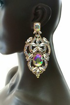 """4.5"""" Long Oversized AB Crystals Clip On Earrings Drag Queen Pageant, Bridal - $27.93"""