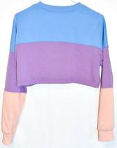 Missguided Women's Blue Purple Peach Colorblock Crop Sweatshirt Size US 2 image 2