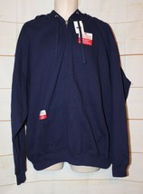 Mens Navy Blue Fruit of the Loom Hooded Zip Front Jacket Size 2XL NWT NEW - $10.39