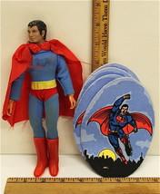 """Vintage 1974 Mego Superman Action Figure 8"""" + 4 Superman 1978 Felt Patch... - $29.91"""