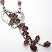 Collar Plata 925 , Corazón Perforado Colgante, Racimo Pepitas Violeta image 3
