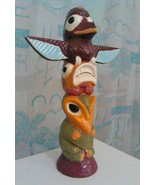 Totem Spirit Birds Ceramic Statue Tropic Island Tiki Home decor Beach - $125.00