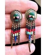 NATIVE AMERICAN Handmade Beaded and Inlaid Sterling Silver EARRINGS - 1 ... - $80.00