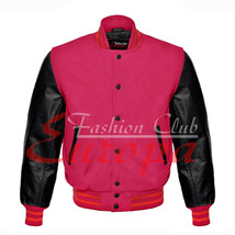 American Unisex Black Real Leather Sleeves Letterman College Varsity Wool Jacket - $86.13+