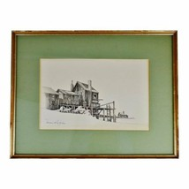 Vintage Framed Fishing Wharf Pencil Drawing - Artist Signed - $195.00