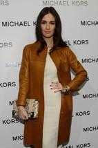 Vintage Front Line Button Women's Celebrities 100% Genuine Leather Top Coat