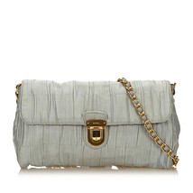 Vintage Prada Gray Satin Fabric Chain Shoulder Bag Italy - $270.22