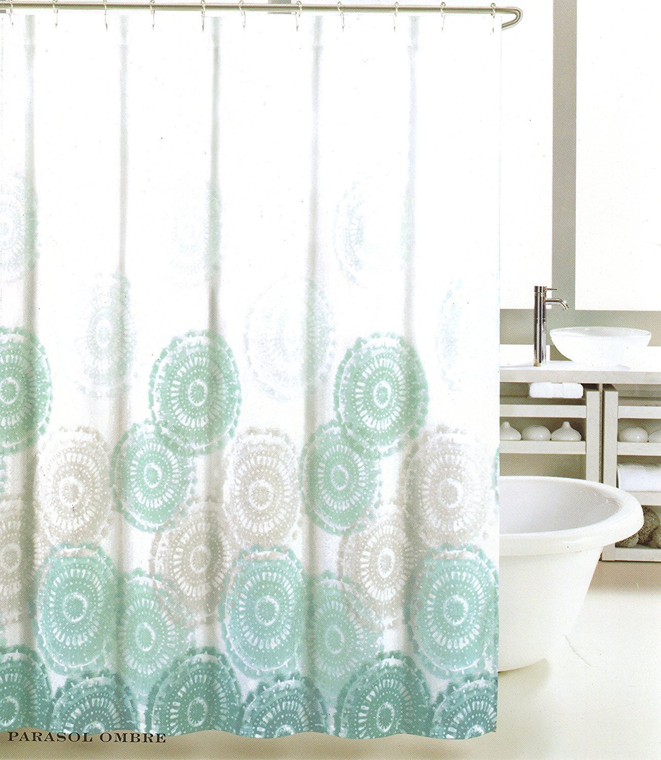 Max Studio Ombre Parasol Gray and Teal on White Shower Curtain