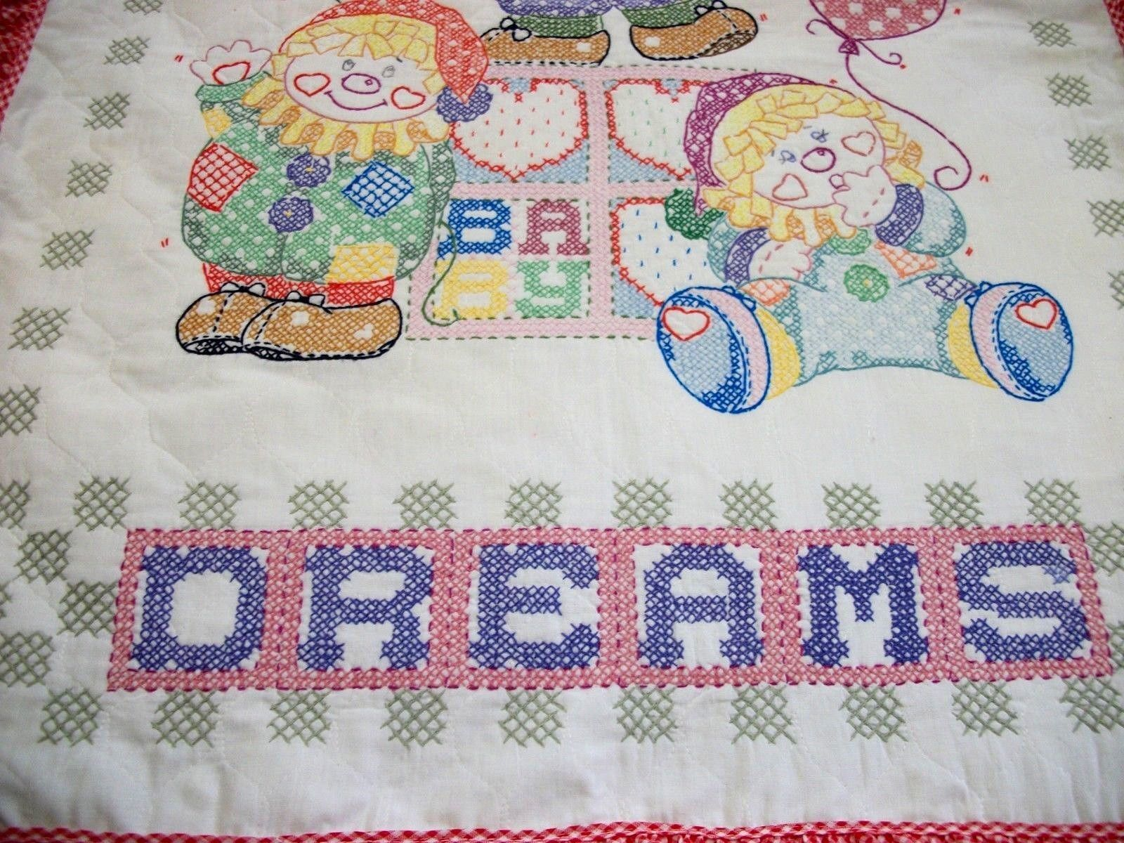 """Handcrafted Quilted & X Stitched """"SWEET DREAMS CLOWNS"""" Baby Quilt Crib Blanket"""
