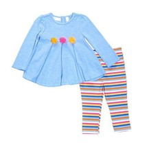 New baby girl toddler size 12 months chambray top and leggings set B799D... - $11.99
