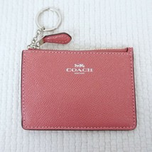 New COACH Mini Skinny ID Wallet Key Chain Crossgrain Glitter Leather Peo... - $26.04