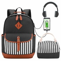 Canvas Backpack for Girls College School Backpack with USB Charging Port Womens