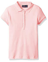 Nautica Girls' Uniform Short Sleeve Polo with Ruffle Placket, Light Pink... - $11.87