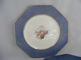 Wedgwood Octagon 8 3/8 Salad Plate Blue Rim Flower Basket Gold Trim - $19.95