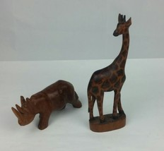 Set Of 2 Wooden Hand Carved African animals Giraffe and Rhinoceros - $19.32