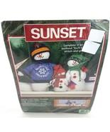 Sunset Snow Folk Snowman Chill Chaser Felt Christmas Craft Shelf Mantel ... - £21.53 GBP