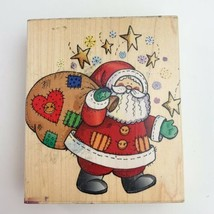 1999 Hero Arts Patchwork Santa Claus Christmans Holiday Rubber Stamp - $9.89
