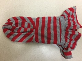 Sarah and Tom Dog Hooded Dress Red and Gray Stripes XS New - $7.70