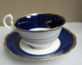 COBALT BLUE w GOLD TRIM GRAPES & FRUIT ROYAL ALBERT TEA CUP & SAUCER! ol... - $22.27